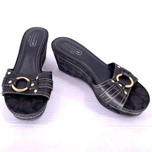 COACH Black Logo Wedge Heel Sandals Slides 7.5